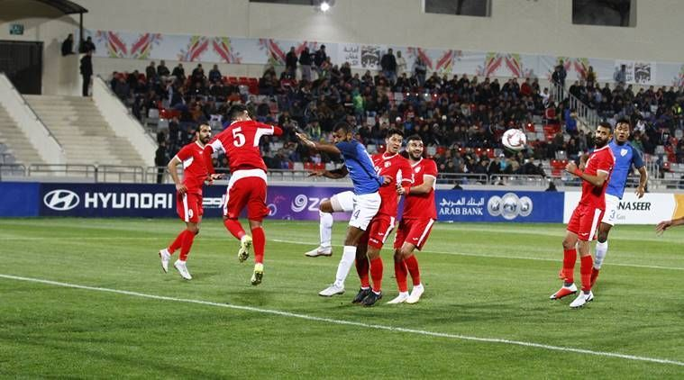 Action from the Jordan vs India match in Amman