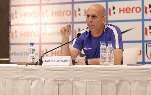 Indian national football team head coach Stephen Constantine addresses the media ahead of India's friendly against Jordan