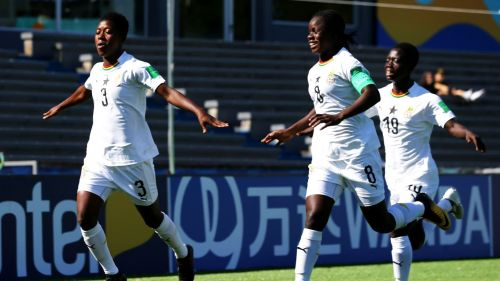Ghana's goalscorers - No 3 Millot Pokuaa, No 8 Mukarama Abdulai and No 19 Animah Grace (Image Courtesy: FIFA)