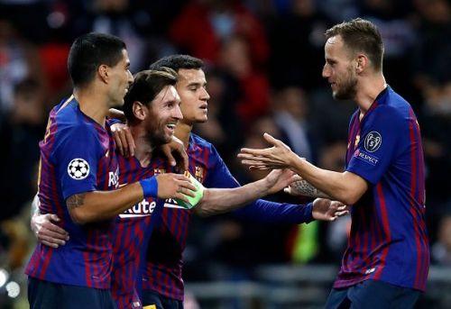 Barcelona superstars - Suarez, Messi, Coutinho, and Rakitic