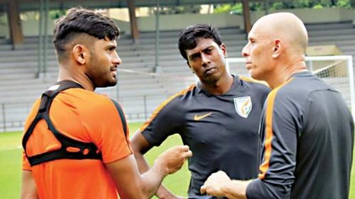 Anas Edathodika (right) is yet to start a game for Kerala Blasters and looked very jaded in the few minutes that he played against China in the friendly game. (AIFF Media)
