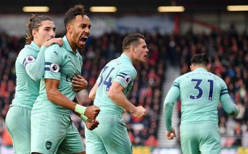 Aubameyang celebrates his goal against Bournemouth at the weekend