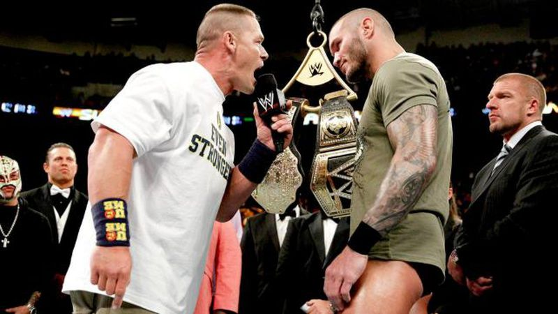 Cena and Orton before their title-unification match