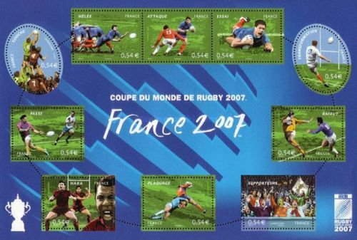 Miniature Sheet issued by France on 6th Rugby World Cup