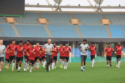 Indian football team practicing in Delhi for their upcoming friendly against Jordan
