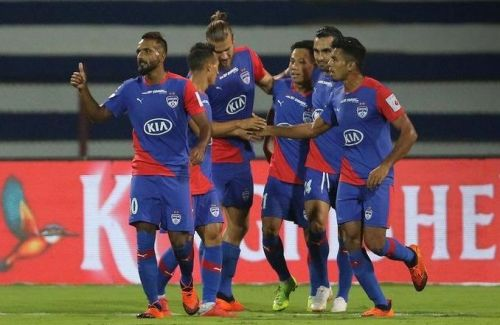 Bengaluru FC players celebrate after Udanta Singh's opener against FC Pune City (Image: ISL)