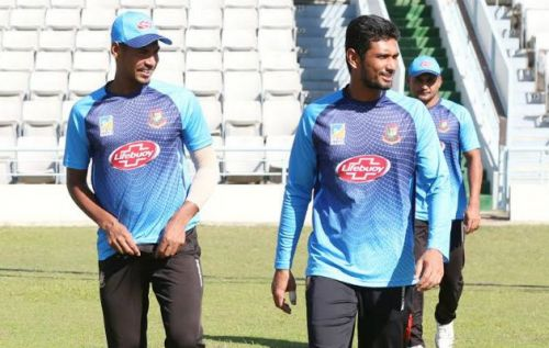 Mahmudullah and Mustafizur during a practice session in Sylhet International Stadium