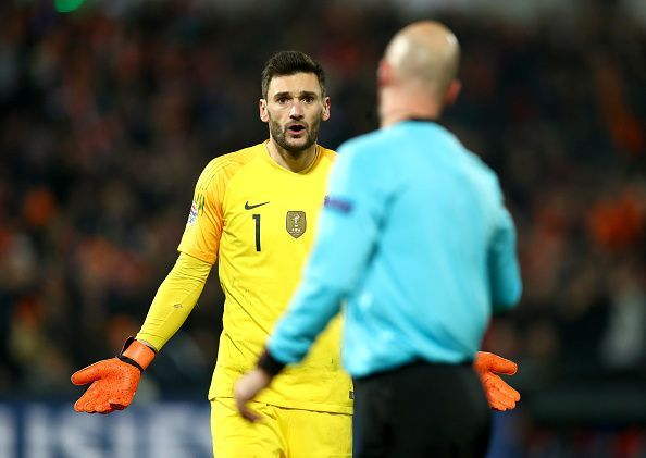 Lloris looks bemused as France conceded a late pen - having saved countless shots to keep his side alive