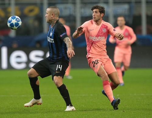 Action from FC Internazionale v FC Barcelona at the UEFA Champions League Group B match