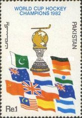 A STAMP ISSUED BY PAKISTAN ON BECOMING 1982 WORLD CUP HOCKEY CHAMPIONS.