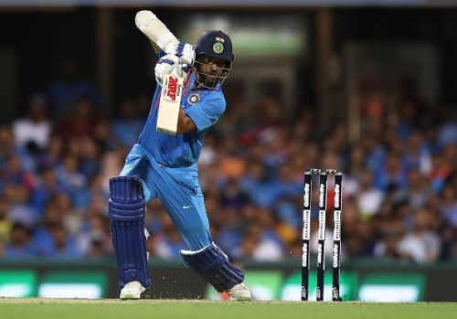 Shikhar Dhawan during the Australia v India T20 match