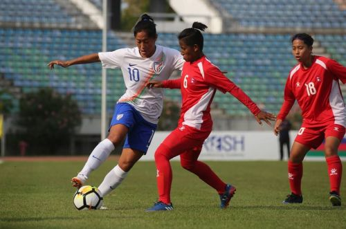 Bala Devi of India in action against Nepal