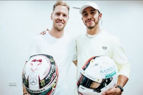 Image result for hamilton vettel helmet swap