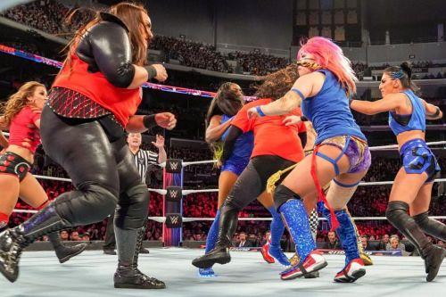 Bayley & Sasha Banks took Natalya & Ruby Riott's spots in this matchup
