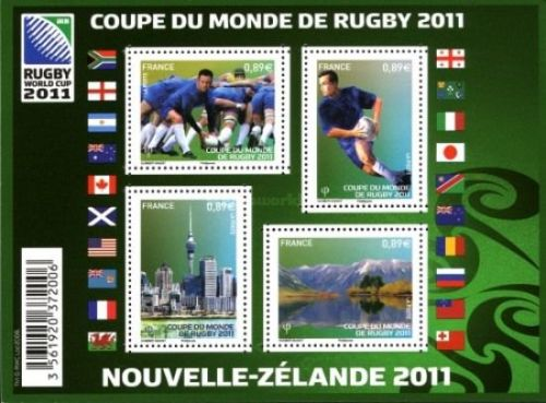 A Miniature Sheet issued by France on 2011 Rugby World Cup