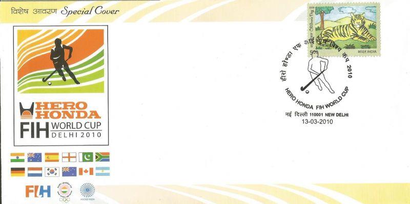 SPECIAL COVER HERO HONDA WORLD CUP HOCKEY -DELHI 2010 -12TH WORLD CUP