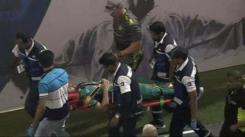 Imam was stretchered away by the ground staff