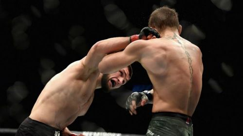 Khabib Nurmagomedov landing a looping right hand on Conor McGregor during their fight at UFC 229!