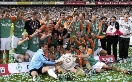The Champions Werder Bremen with 2003-04 Bundes Liga title.