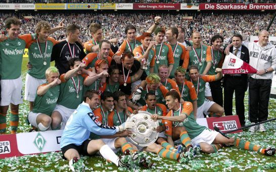 The Champions Werder Bremen with 2003-04 Bundes Liga title.