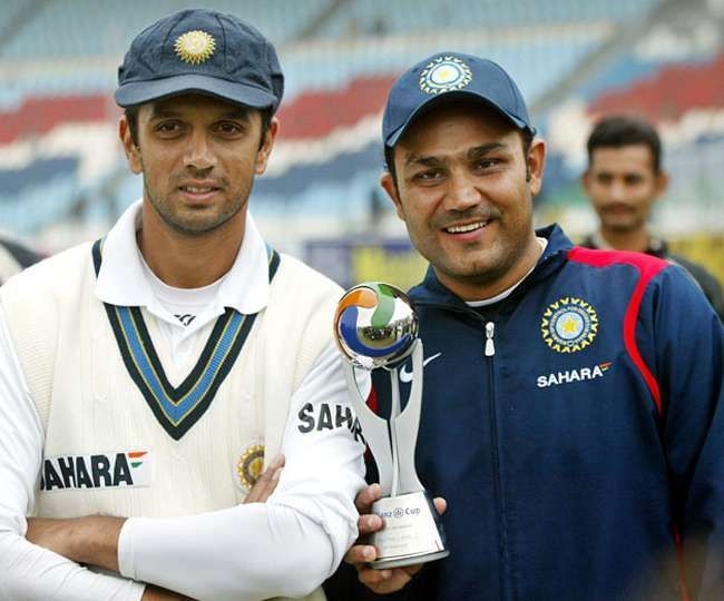 The two pillars of the Indian Test side during the last decade - Dravid(left) and Sehwag(right)