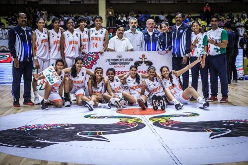 The victorious Indian team after gaining promotion to Division A (Image Courtesy: FIBA)