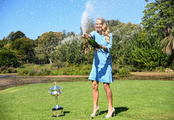 2018 Australian Open champion Caroline Wozniacki with the Daphne Akhurst Memorial Trophy