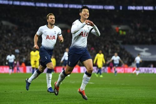 Son Heung-Min after scoring the goal