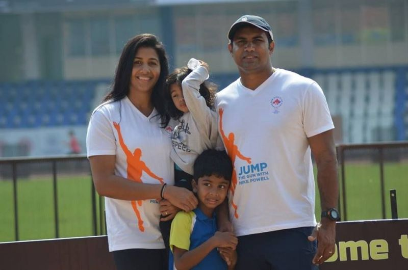 Anju Bobby George and Robert Bobby George with their kids