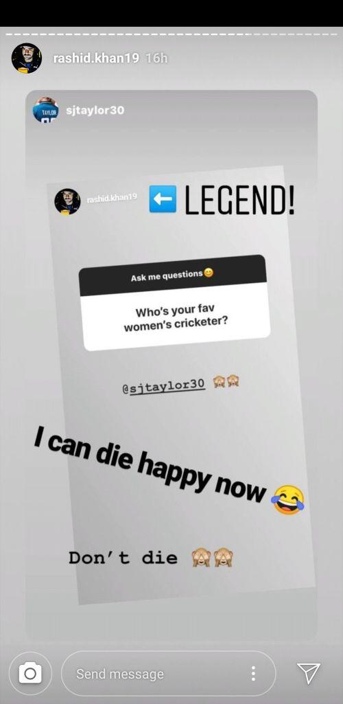 Rashid Khan and Sarah Taylor's Instagram stories
