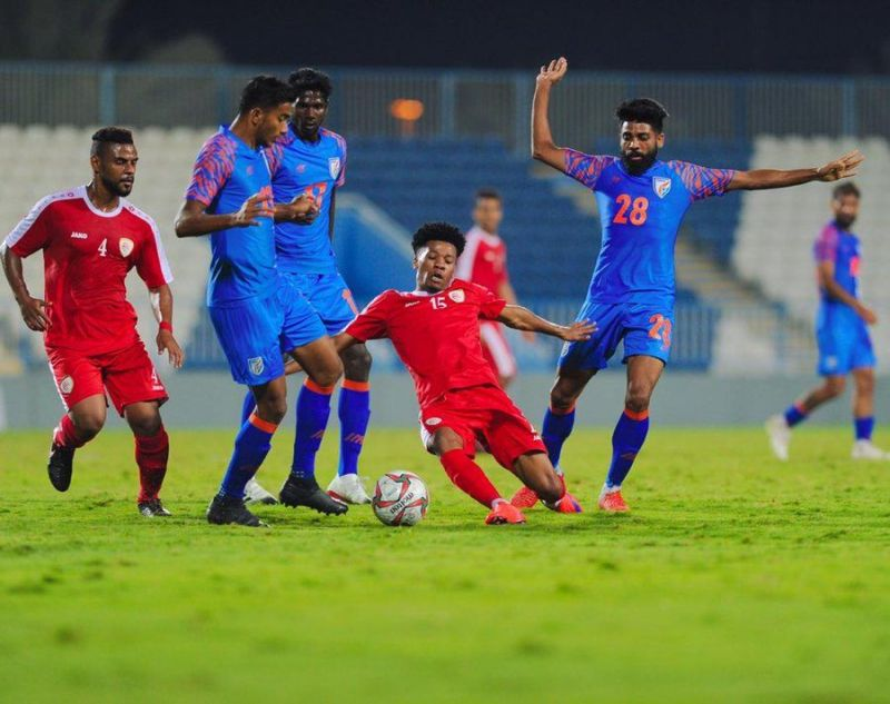 Action from the India vs. Oman match