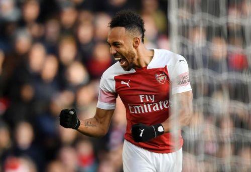 Arsenal led at half-time through their prolific striker, Aubameyang