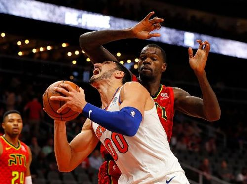 Enes Kanter for the New York Knicks against the Atlanta Hawks