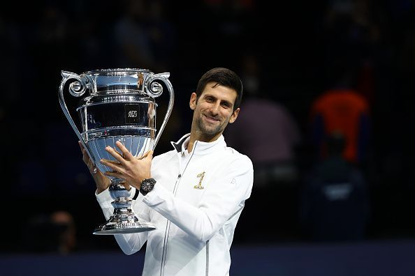 Djokovic lifts the 2018 year-end World Number 1 trophy - the oldest to do so