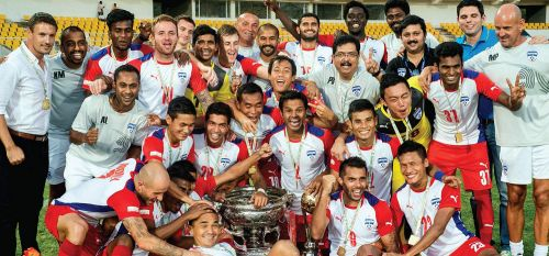 Bengaluru FC players are overjoyed after bagging the Federation Cup in 2015