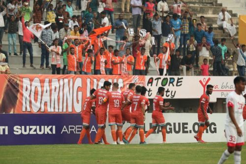 Chennai City players celebrate after a goal against Shillong Lajong