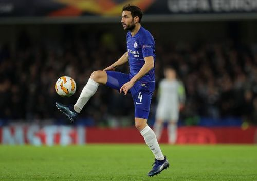 Fabregas in action for Chelsea in the Europa League
