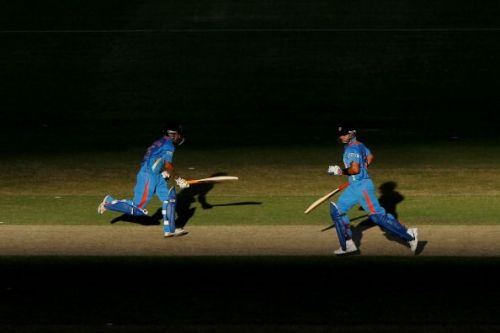 Gautam Gambhir and Virat Kohli batting together in an ODI for India