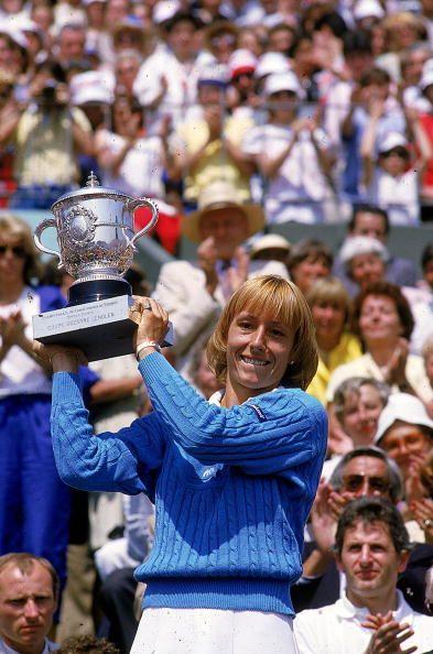 Martina Navratilova with the 1984 US Open Trophy