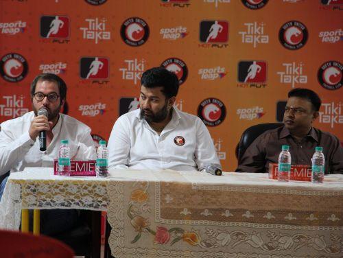 South United Football Club Head Coach Miquel Llado speaks at the launch of the Tikki Taka HotFut SUFC Partnership