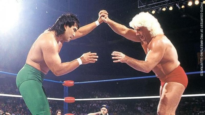 Ricky the Dragon Steamboat and Nature Boy Ric Flair lock horns