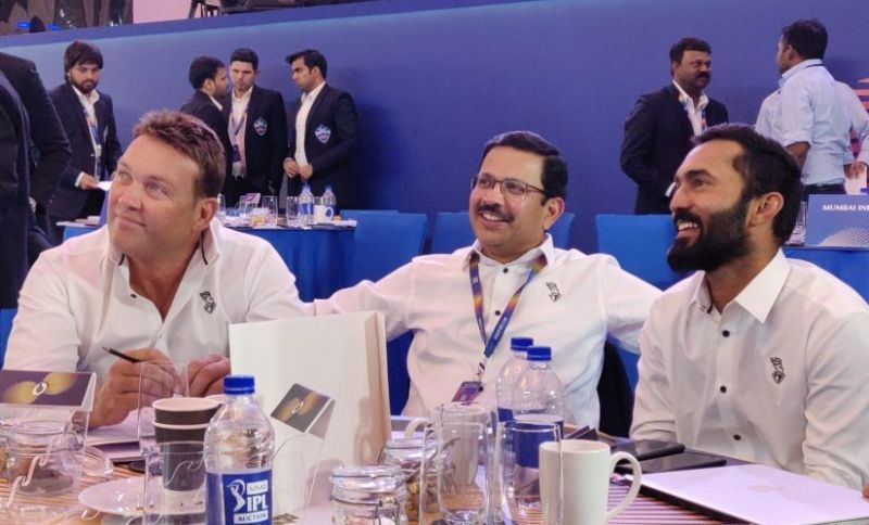 Dinesh Karthik (Right) with the Knight riders management at IPL 2019 auctions