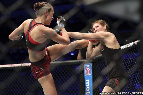 Lucie Pudilova attempts a head kick during her last fight against Irene Aldana at UFC 228!