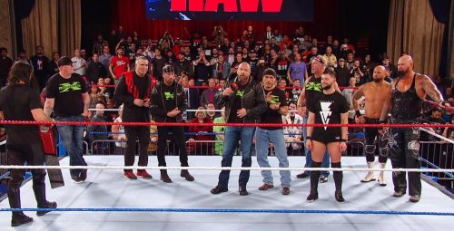 DX with the Balor Club at Raw 25
