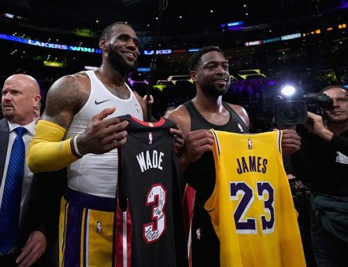 LeBron James and Dwyane Wade exchange jerseys at the end of the game