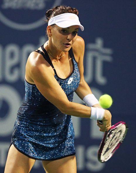 Agnieszka Radwanska playing in her final WTA match at the Connecticut Open