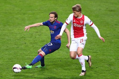 Dolberg in action against Manchester United in the 2017 UEFA Europa League Final