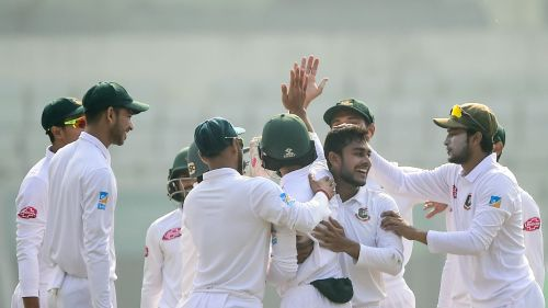 Mehidy Hasan's 12-for scripted a record win for Bangladesh