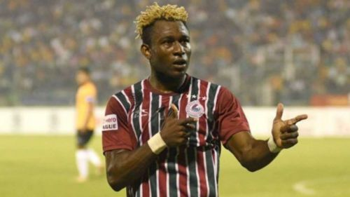 Sony Norde celebrates after scoring a goal for Mohun Bagan