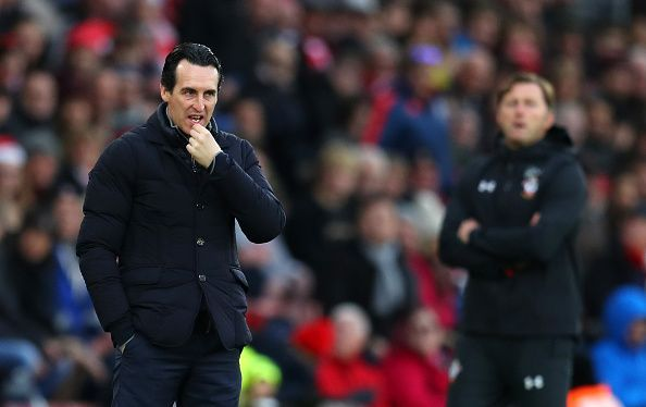 Emery (left) contemplating on the sidelines as his side succumbed to a 3-2 defeat late on